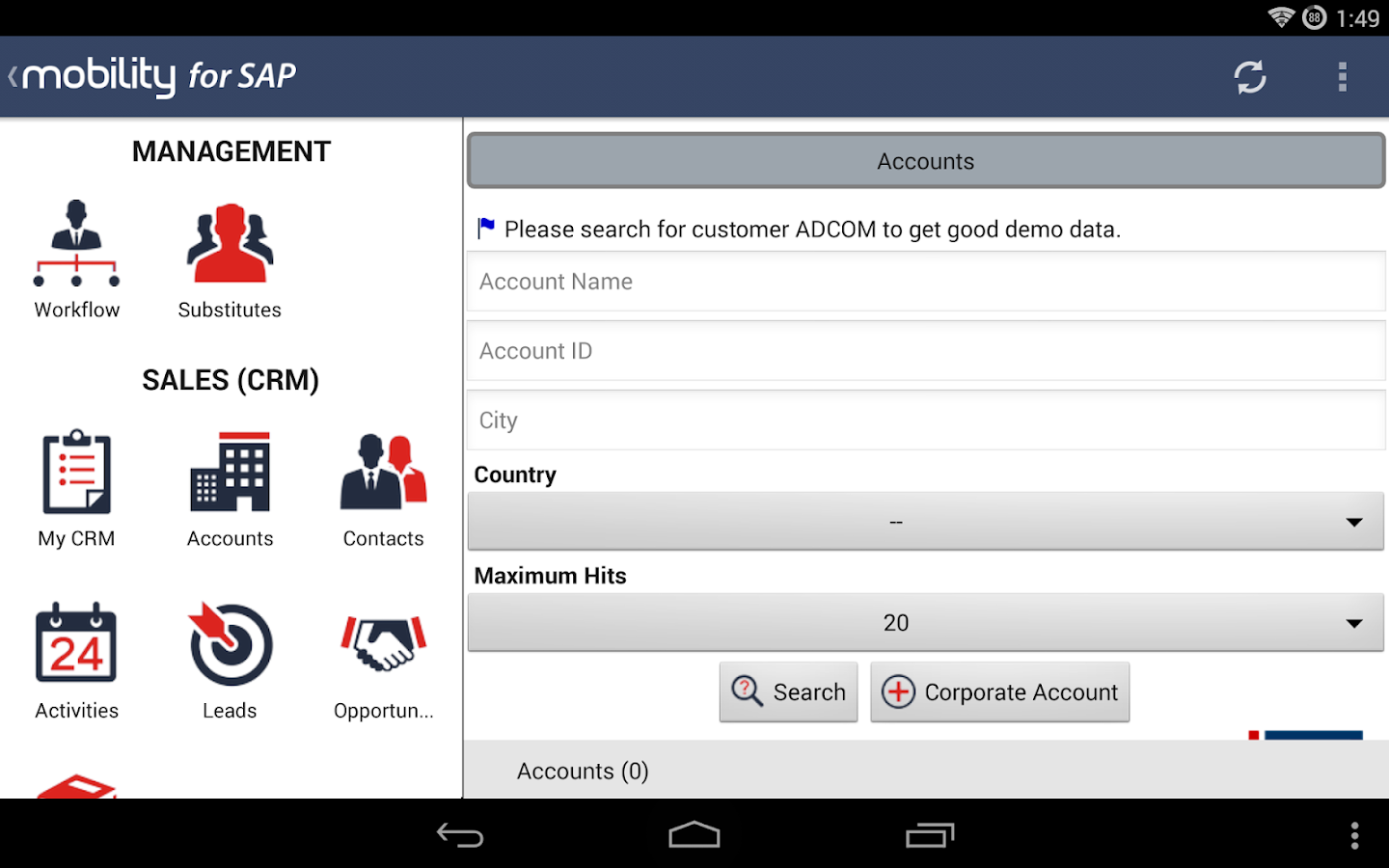 Mobility for SAP for SECTOR- screenshot