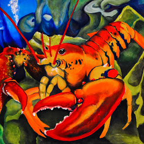 Lobster by Veronica Blazewicz - Painting All Painting ( crawfish, art, sea, lobster, ocean, seascape, artwork, oil, sealife, life, painting, crayfish, animal )