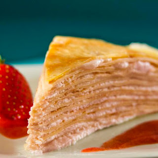 Strawberry Cream Mille Crepe Cake.
