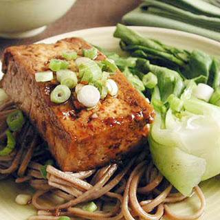 Teriyaki Tofu Steaks with Soba Noodles.