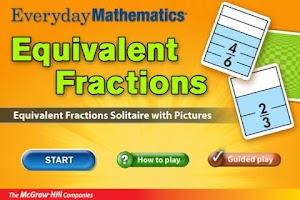 Screenshot of Everyday Math Equiv. Fractions