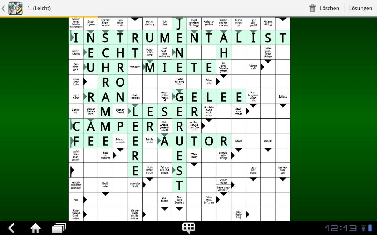 Frei Kreuzworträtsel