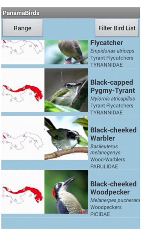 Panama Birds Field Guide- screenshot