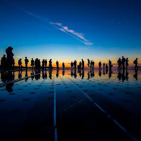 Star People  by Davor Strenja - City,  Street & Park  Street Scenes ( blue, organ, sunset, croatia, star, cloud, sea, zadar, evening, seaorgan, people )