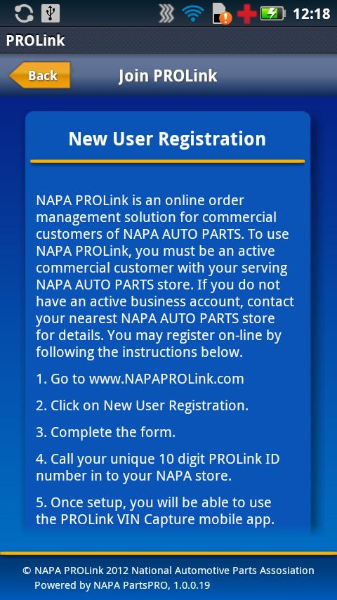 NAPA PROLink VIN Capture- screenshot