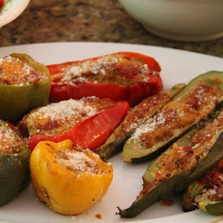 Stuffed Zucchini and Red Bell Peppers