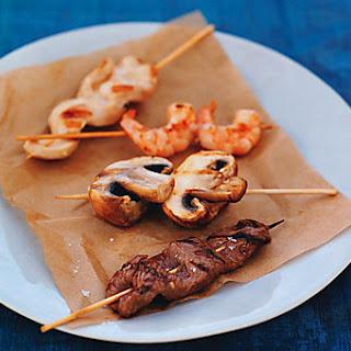 Grilled Beef, Chicken, Shrimp, and Mushroom Skewers