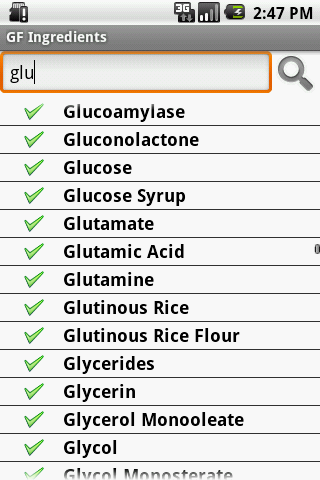 Gluten Free Ingredients- screenshot