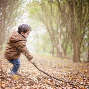 sticky stick by Melissa Marie Gomersall - Babies & Children Children Candids ( stick, low sun, autumn, cute, light, colours,  )