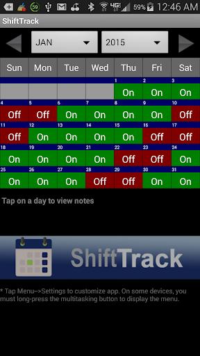 Shift Track Repeating Calendar