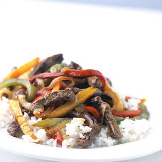 Mixed-Pepper Steak with Onions.