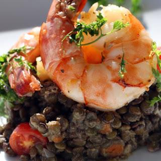 Dijon Lentil Salad with Lemon Roasted Shrimp