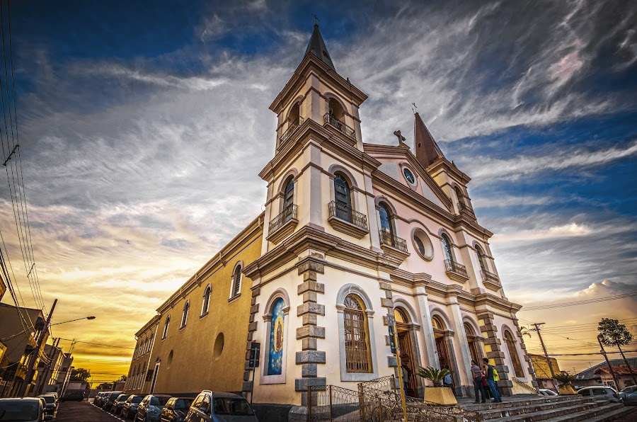 MOTHER CHURCH (HDR) by Cassio Centurion - Buildings & Architecture Places of Worship ( hdr, church, 2015, 10-20mm, brazil, sigma, wide angle, sunset, jacareí, d7000, cassio centurion, mother church, nikon, Architecture, Ceilings, Ceiling, Buildings, Building )