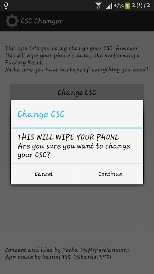 CSC Changer - screenshot