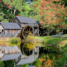 Mabry's Mill by Jonathan Wheeler - Landscapes Mountains & Hills ( old mills, fall colors, autumn, mill ponds, blue ridge parkway, reflections, appalachian mountains )