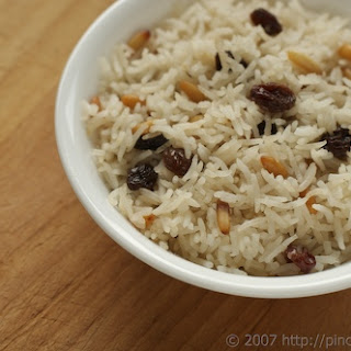 Rice Pilaf with Raisins and Pine Nuts.