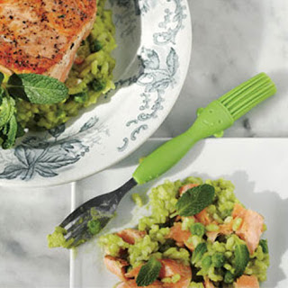 Roasted Salmon With Green Pea Risotto