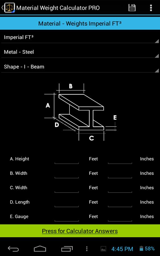 Material Weight Calculator