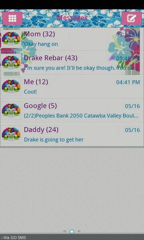 GO SMS THEME/hawaiiantropic - screenshot