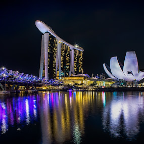To Marina Bay Sand by Alex Shanti - City,  Street & Park  Night ( urban, reflection, lifestyle, night, bridge, singapore, city,  )