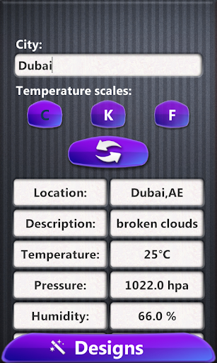 現代の時計天気ウィジェット
