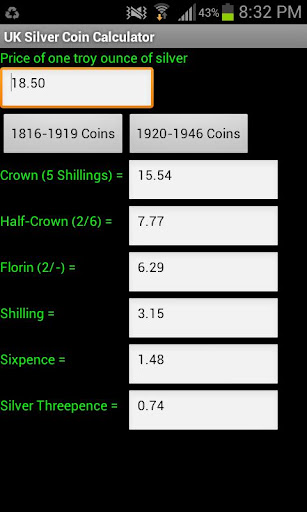 UK Silver Coin Calculator