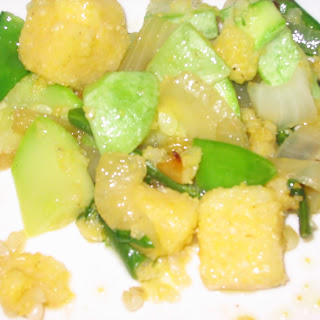 Summer Squash Sautéed with Polenta Chunks and Snow Peas.