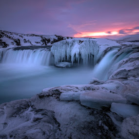 Dawn of the Gods by Daniel Herr - Landscapes Waterscapes ( godafoss, iceland, winter, colors, waterfall, frozen )