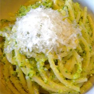 Broccoli Cilantro Pesto with Jamon Serrano and Spagetti.
