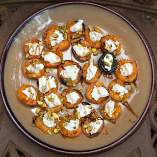 Stuffed Grilled Apricots With Goat Cheese, Pistacios, and Balsamic