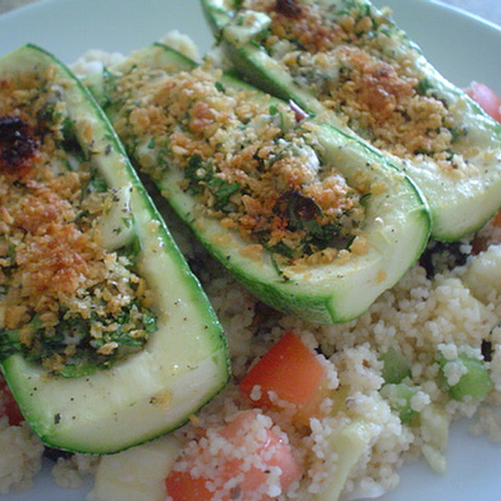Feta and Herb Zucchini Boats with Vegetable Couscous Recipe