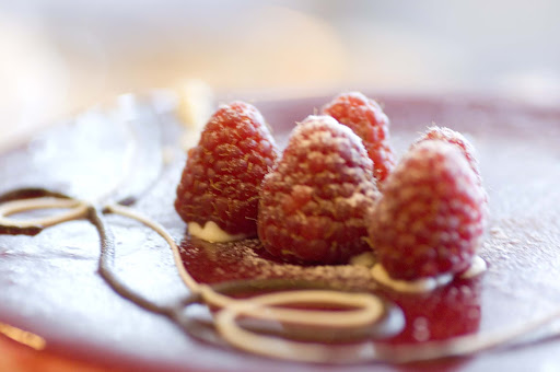 Culinary-Experiences-Raspberry-Dessert - A raspberry dessert creates a smooth finish to you culinary experience on Crystal Serenity.
