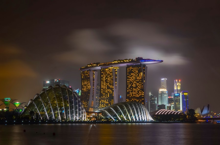 Gardens by the Bay & Marina Bay Sands  by Suriati Yacob - Buildings & Architecture Other Exteriors ( buildings, landscape, singapore, nightscape )