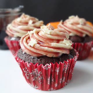 Mulled Wine Chocolate Cupcakes With Spiced Orange Mascarpone Frosting.