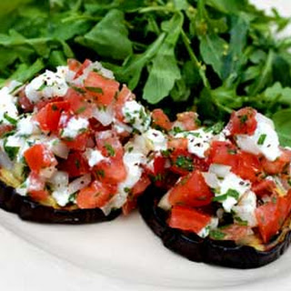 Gluten Free Grilled Eggplant with Tomato Goat Cheese Relish.