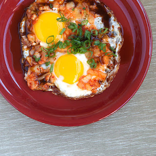 Fried Eggs with Kimchi.