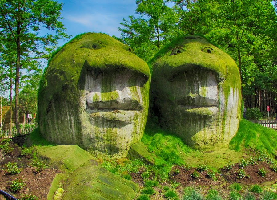 Artistic stones by Yordanka Trifonova - Nature Up Close Rock & Stone ( venlo netherlands  stone sculpture heads plants green tourism entertainment parks )