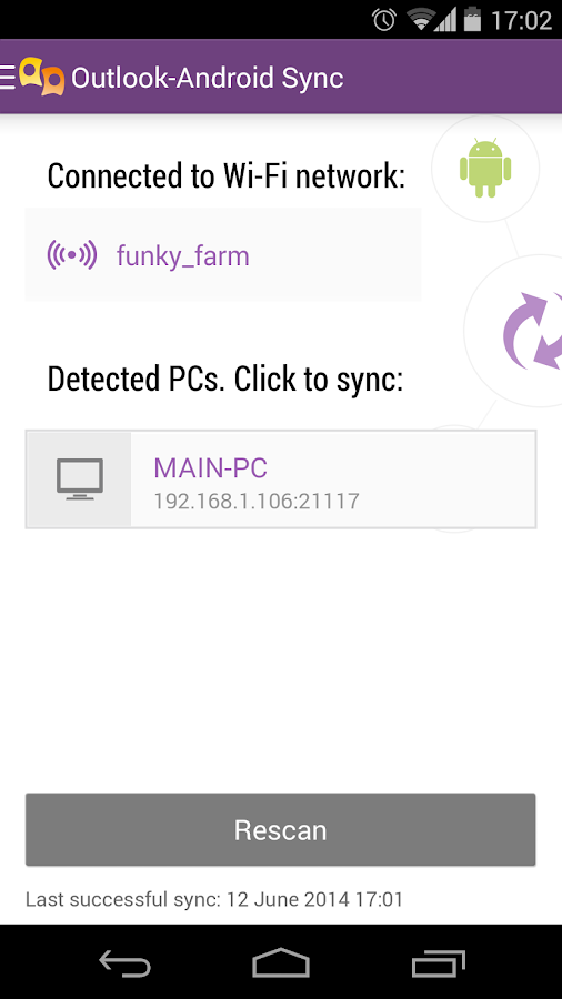 Outlook-Android Sync – Capture d'écran