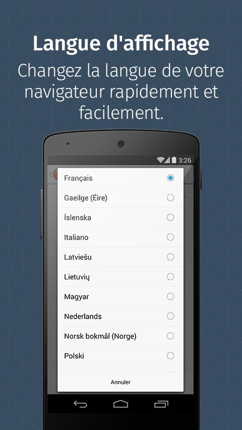 Firefox pour Android– Capture d'écran