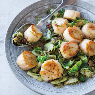 Seared Scallops with Warm Shredded Brussels Sprouts and Prosciutto