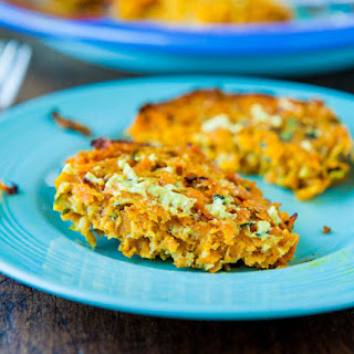 Baked Chipotle Sweet Potato and Zucchini Fritters (vegan, gluten-free) with Homemade Spicy Honey Mustard (gluten-free with vegan option)