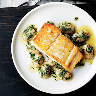 Pan-Roasted Halibut with Herbed Corona Beans