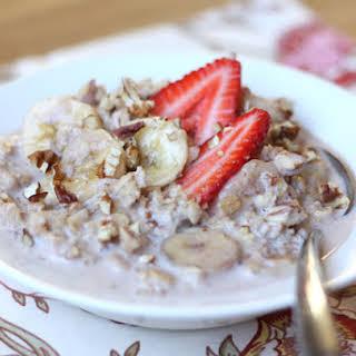 Slow Cooked Strawberry Banana Pecan Oatmeal.