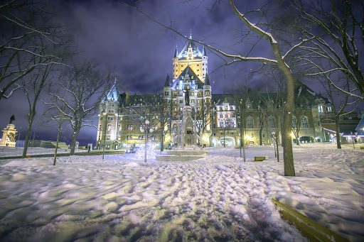 Quebec-City-winterscape-building - A winter landscape in Quebec City, Canada.