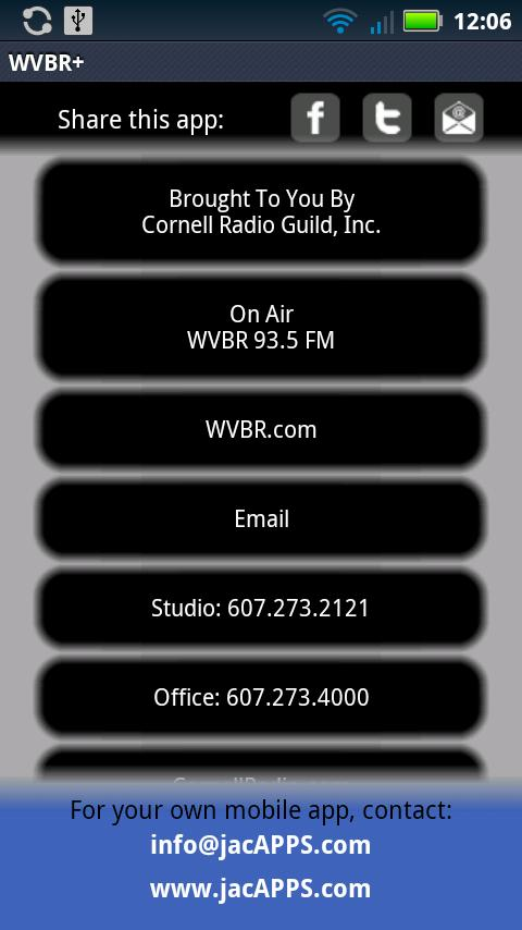 WVBR + CornellRadio.com- screenshot