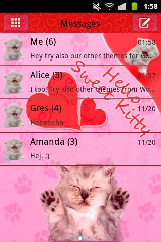 SMS Proのテーマピンクの猫を GO SMS Pro