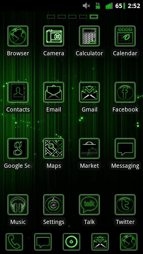 GO Launcher Green Neon Theme - screenshot