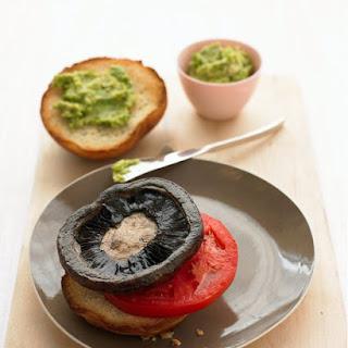 Portobello Mushroom Burger with Spicy Avocado Sauce.