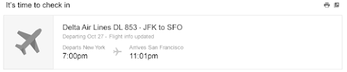 Gmail snippet for a flight reservation.