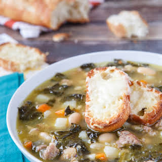 Rustic Tuscan-Style Sausage, White Bean, and Kale Soup.